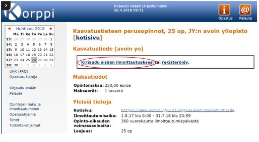 Korppi-opintotietojärjestelmään kirjautuminen ennen ilmoittautumista.png