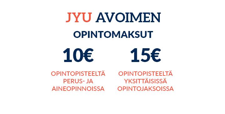 Opintomaksumme 10 euroa opintopisteeltä opintokokonaisuuksissa ja 15 euroa opintopisteeltä opintojaksoissa