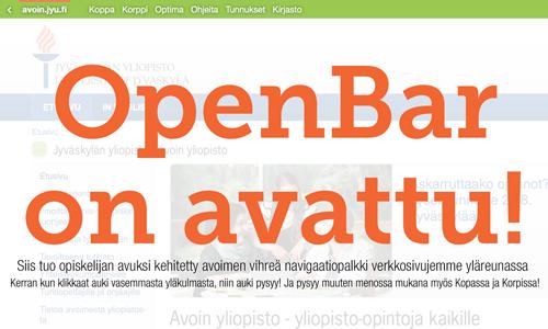 Jyväskylän yliopiston avoimen yliopiston OpenBar -navigaatiopalkki avuksi opiskelijalle